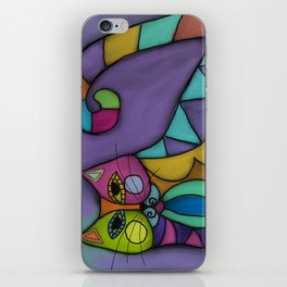 Cat of Many Colors Abstract Digital Painting  iPhone Skin