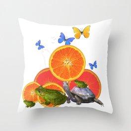 SURREAL GREEN FROGS BUTTERFLIES FRUIT & TURTLE Throw Pillow
