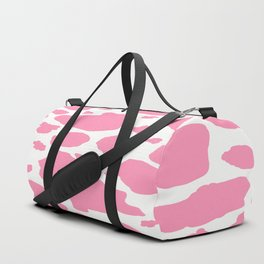 pink and white animal print cow spots Duffle Bag