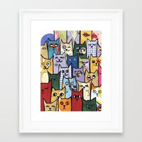 a lot of cats Framed Art Prints featuring Cats a Lot by grrrenadine