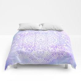 White Mandala on Pastel Blue and Purple Textured Background Comforters