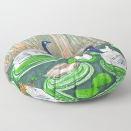 Water Friends drawing by Amanda Laurel Atkins Floor Pillow