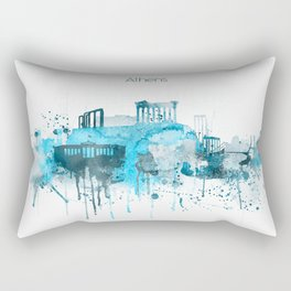 Athens Monochrome Blue Skyline Rectangular Pillow