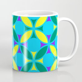 Geometric Floral Circles Vibrant Color Challenge In Bold Purple Yellow Green & Turquoise Blue Coffee Mug