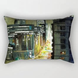 Chicago At Night Watercolor Painting Rectangular Pillow