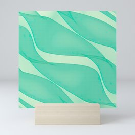 Abstract flowing ribbons in mint green Mini Art Print