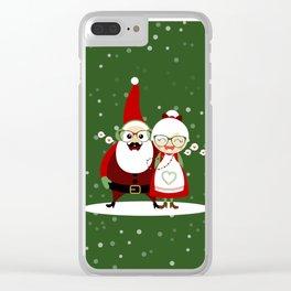 Père & Mère Noël  (vert sapin avec flocons) Clear iPhone Case