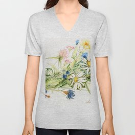 Bouquet of Wildflowers Original Colored Pencil Drawing Unisex V-Neck