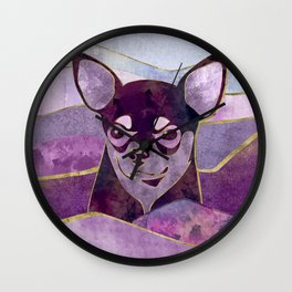 Chihuahua Portrait Mixed textures  Digital Art Wall Clock