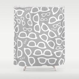 Smart Glasses Pattern - Grey Shower Curtain