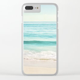 Ocean Seascape Photography, Aqua Beach Sea Landscape, Turquoise Teal Coastal Waves Clear iPhone Case
