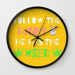 Marijuana Easter Bunny | Weed and Cannabis 420 Wall Clock
