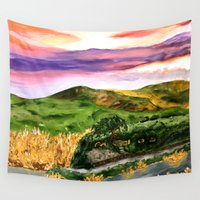 lord of the rings Wall Tapestries featuring Lord of the Rings Hobbiton by KS Art & Design
