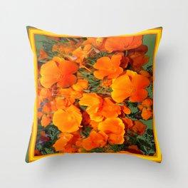 Sage Green Art Golden California Poppies Design Throw Pillow