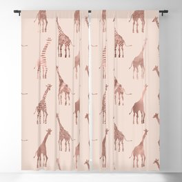 Girly Modern Rose Gold Blush Pink Giraffes Blackout Curtain