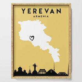 YEREVAN ARMENIA LOVE CITY SILHOUETTE SKYLINE ART Serving Tray