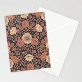 Peach, Dusty Rose, Mauve & Blue-Gray Floral Pattern Stationery Cards