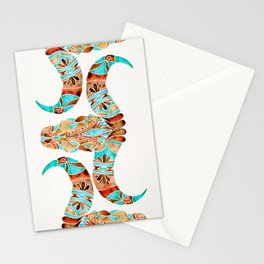 Water Buffalo Skull – Blue & Brown Stationery Cards