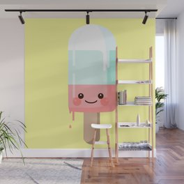 Kawaii melting popsicle Wall Mural