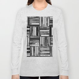 Music Cassette Stacks - Black and White - Something Nostalgic IV #decor #society6 #buyart Long Sleeve T-shirt