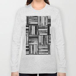 Music Cassette Stacks - Black and White - Something Nostalgic IV #decor #society6 #buyart Long Sleeve T-shirt