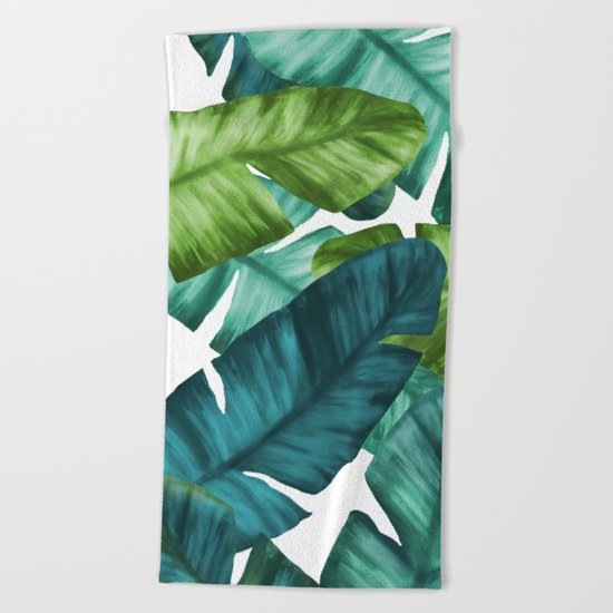 Tropical Banana Leaves Unique Pattern Beach Towel