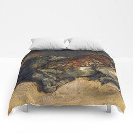 """Eugène Delacroix """"Tigre attaquant un cheval"""" Comforters"""