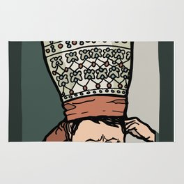 Central Asian Woman Thinking (in hat) Rug