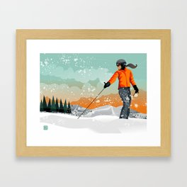 Skier Looking Framed Art Print