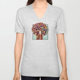 Flower Head Girl Design Unisex V-Neck