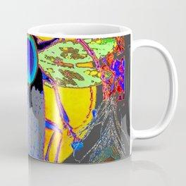 MYSTIC BLACK  BEETLE BLUE PEACOCK MOON ART Coffee Mug