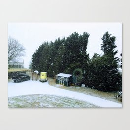 Snowstorm in the winter Canvas Print