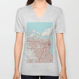 Vintage Map of Corpus Christi Texas (1968) Unisex V-Neck