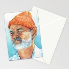 Steve Zissou Art Life Aquatic Bill Murray Watercolor Portrait Stationery Cards