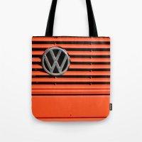 volkswagen Tote Bags featuring Red Volkswagen by Marieken