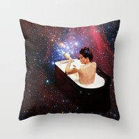 bath Throw Pillows featuring Bubble Bath by Eugenia Loli