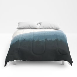 Hazy British Columbia Mountains Comforters