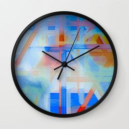 Blue Lines Overlay Abstract Wall Clock