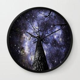 Wintry Trees Midnight Blue Galaxy Skies Wall Clock