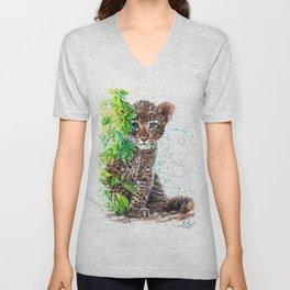 Little Leopard watercolor Unisex V-Neck