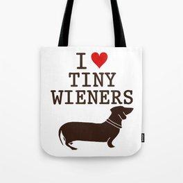 I Love Tiny Wieners Tote Bag