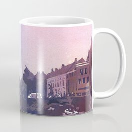 Church rising over medieval buildings of Bruges, Belgium at Jan Van Eyck Square.  Watercolor painting of Bruges Belgium art. Coffee Mug