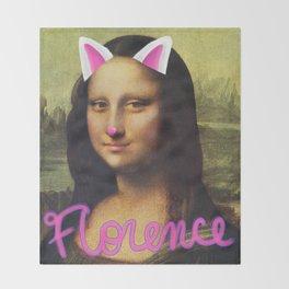 Mona Lisa Cat Filter Throw Blanket