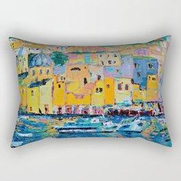 Fishing Boats of Genoa - palette knife city landscape Italy by Adriana Dziuba Rectangular Pillow