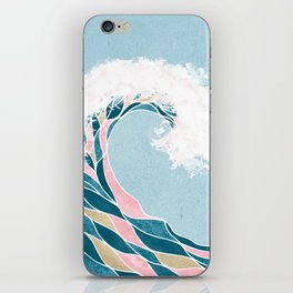 Surf X // Cali Beach Summer Surfing Rip Curl Gold Pink Aqua Abstract Ocean Wave iPhone Skin