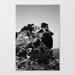 Church on a Hill (Black & White) Canvas Print