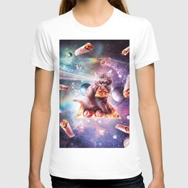 Space Cat Eating Pizza - Rainbow Laser Eyes, Burrito T-shirt