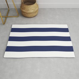 Navy Blue and White Stripes Rug