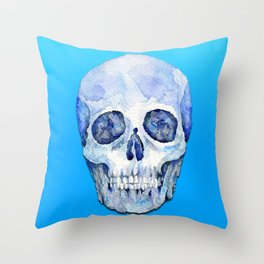 Cool Blue Watercolor Skull Throw Pillow