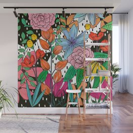 Colorful Floral Explosion Wall Mural